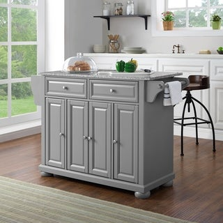 Alexandria Solid Granite Top Kitchen Island In Vintage Grey