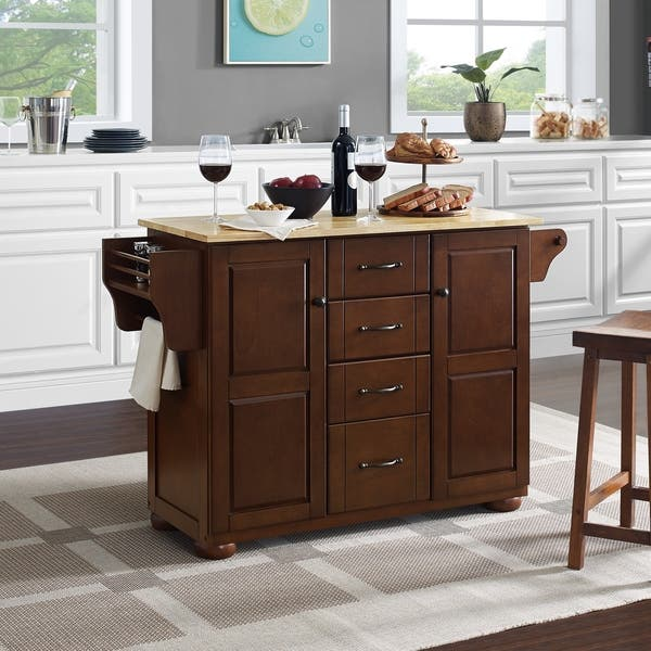 Shop Eleanor Natural Wood Top Kitchen Island - Free Shipping ...