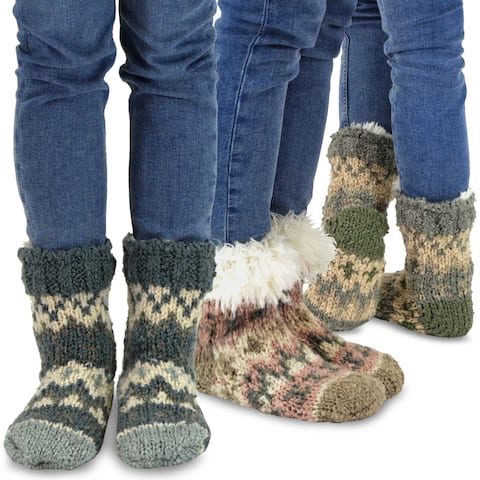 Teehee Womens Premium Thermal Double Layer Crew Sock 3-Pack