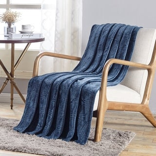 Cedar Embossed Flannel Throw Oxford Blue