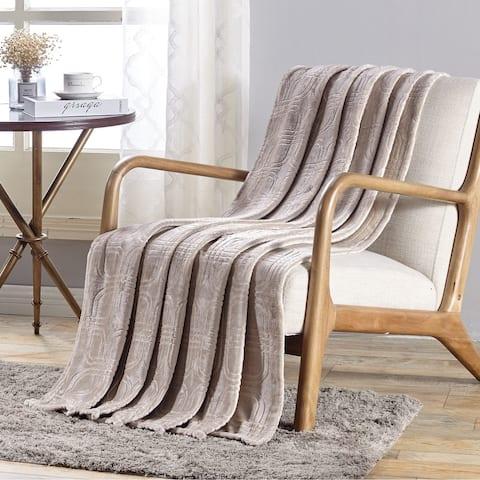 Cedar Embossed Flannel Throw Ivory