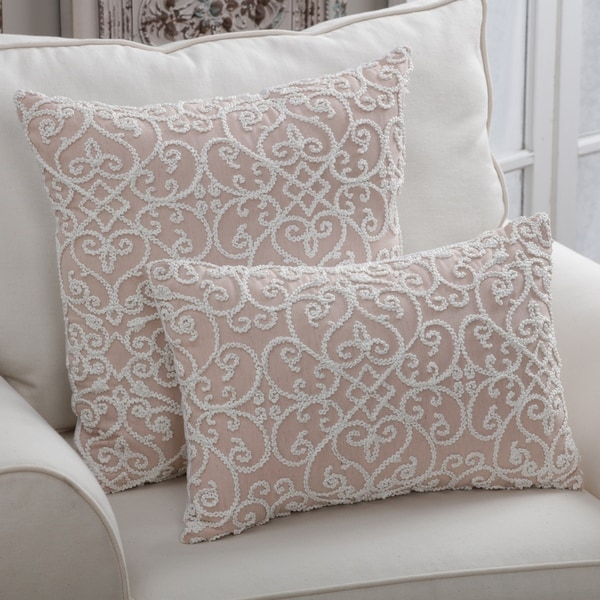 Porch & Den Ledroit Dusty Rose Feather Filled Decorative Throw Pillow
