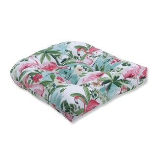 Floridian Flamingo Bloom Wicker Seat Cushion
