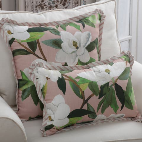 Porch & Den Longacres Rose Color Magnolia Throw Pillow