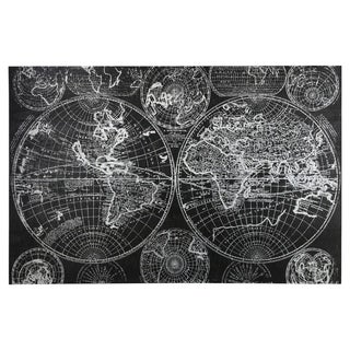 Utc53932 Wood Rectangle Panel Giclee Print Of World Map With Frame Painted Finish Black Overstock 26856275