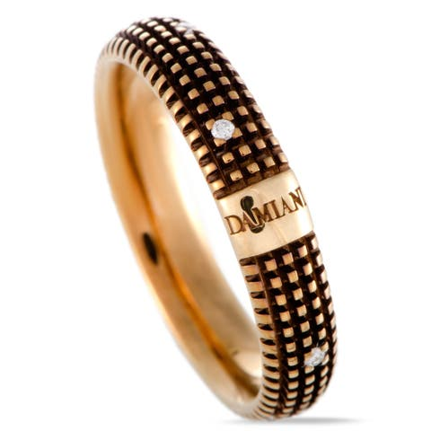 Damiani Metropolitan Yellow Gold and Brown Rhodium 9 Diamonds Textured Band Ring Size - 8.75