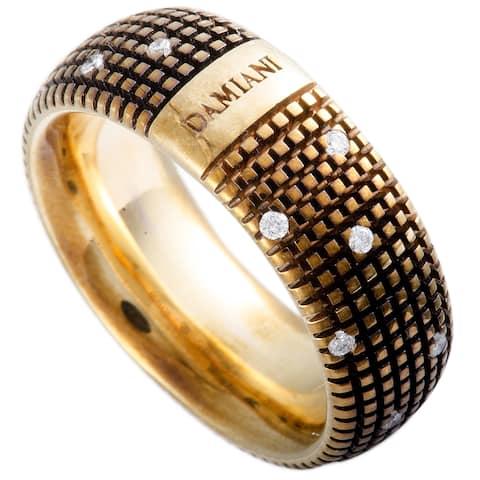 Damiani Metropolitan Rose Gold and Brown Rhodium 18 Diamonds Textured Band Ring