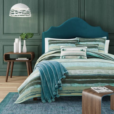 Porch & Den Caden Green Stripe Cotton Quilt Coverlet