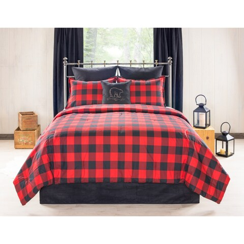 Bear Creek Cabin and Lodge red Plaid comforter set