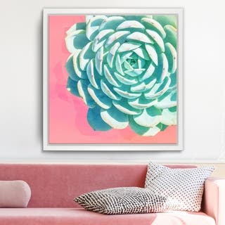 Ready2HangArt 'Awaken II' Framed Succulent Canvas Wall Art - Green/Pink/White