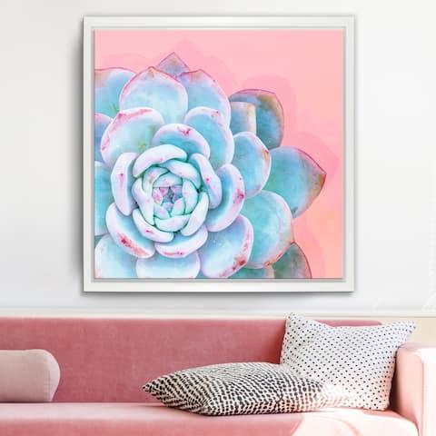 Ready2HangArt 'Awaken I' Framed Succulent Canvas Wall Art - Blue/Pink/White