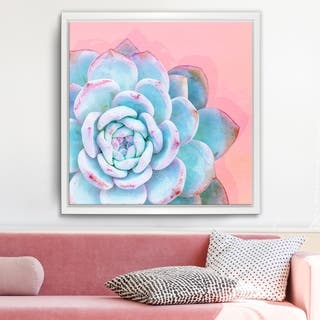 Ready2HangArt 'Awaken I' Framed Succulent Canvas Wall Art - Blue/Pink/White