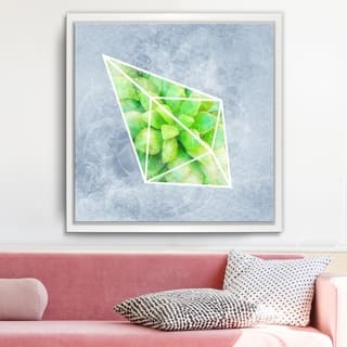 Ready2HangArt 'Crystal Terrarium III' Framed Succulent Canvas Wall Art - Grey/Green/White