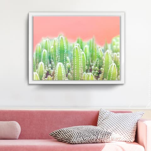 Ready2HangArt 'Warm Thoughts' Framed Succulent Canvas Wall Art - Green/Pink/White