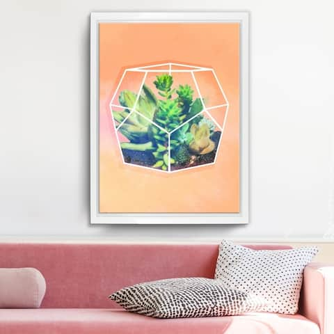 Ready2HangArt 'Terrarium Orange' Framed Succulent Canvas Wall Art - Green/Orange/White