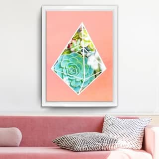 Ready2HangArt 'Green Diamond' Framed Succulent Canvas Wall Art - Pink/Multi-color/White