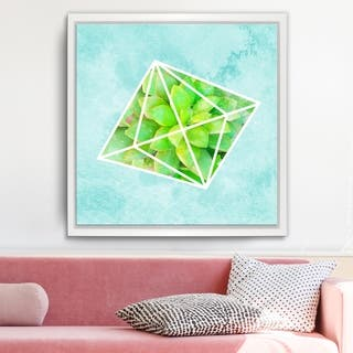 Ready2HangArt 'Crystal Terrarium IV' Framed Succulent Canvas Wall Art - Blue/Green/White