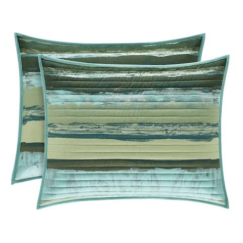 Porch & Den Caden Green Stripe Quilted Pillow Sham