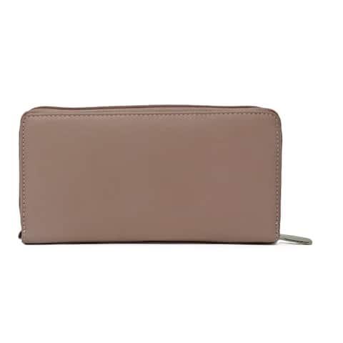 AFONiE RFID Leather Women Zipper Wallet
