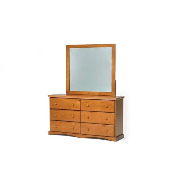Honey Pine 6 Drawer Dresser With Mirror