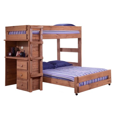 Mahogany Hill Mahogany Stain Twin over Full Loft Bed with Desk End