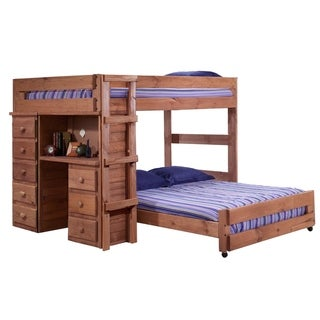 Mahogany Hill Full over Full Loft Bed with Desk and Chest