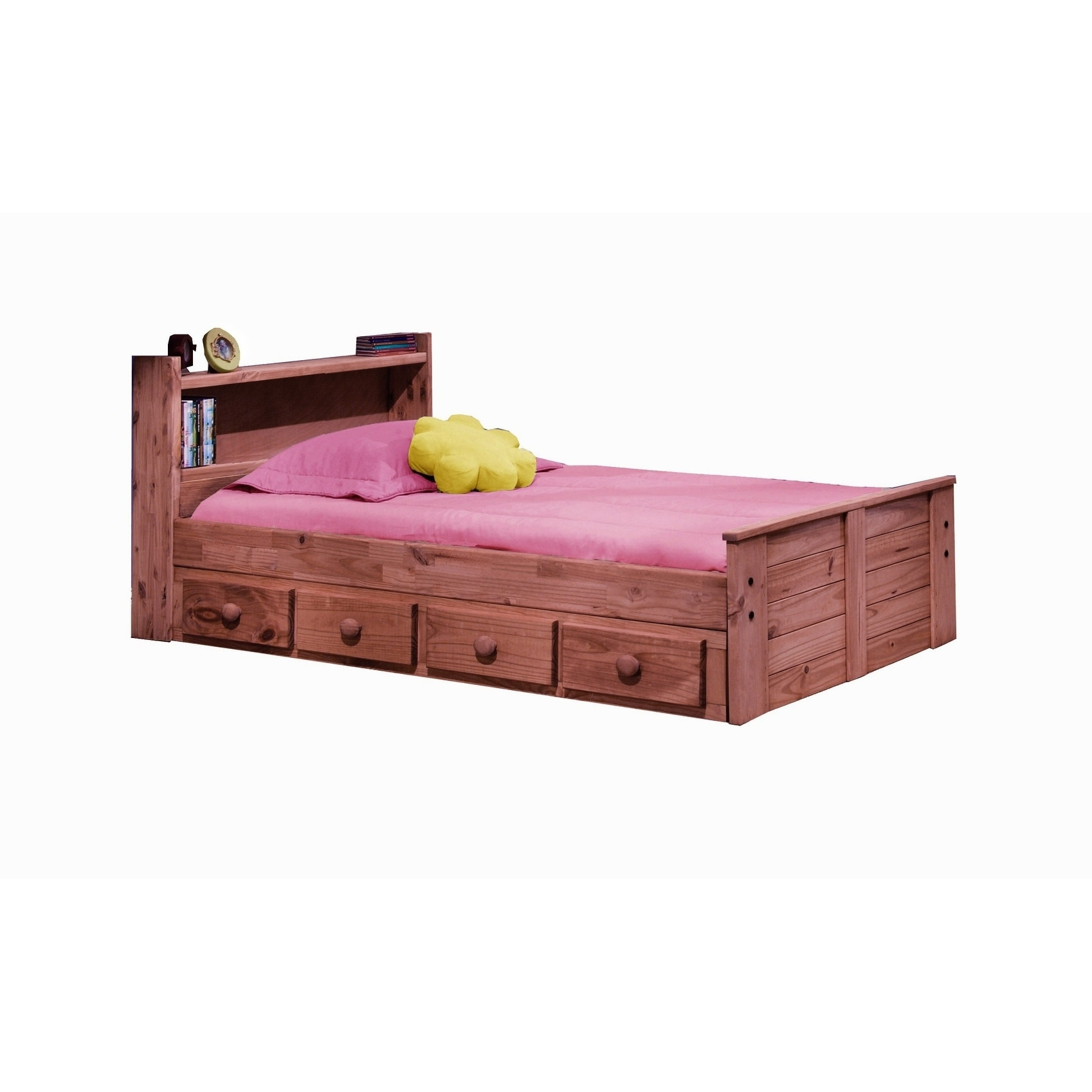Mahogany Hill Twin Bed With Bookcase Headboard And Storage