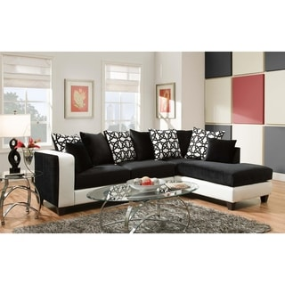Ame Implosion Black and Olympia L-shape Sectional