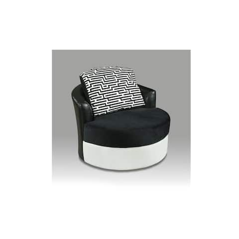 Willy Avanti White and Implosion Black Barrel Chair