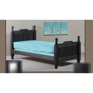 Blackberry Grove Black Distressed Twin Cannonball Panel Post Bed
