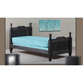 Black Distressed Full Cannonball Panel Post Bed
