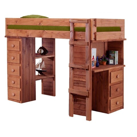 Mahogany Hill Twin Student Loft Bed with Desk and Chest Ends