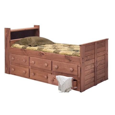 Mahogany Hill Mahogany Stain Twin 6-drawer Bookcase Captain Bed