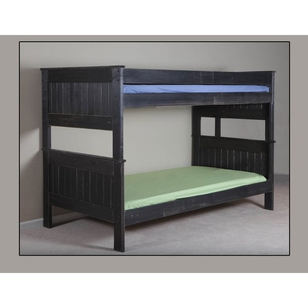 Black Distressed Full over Full Stackable Bunk Bed