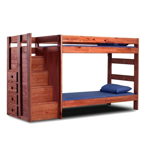Mahogany Hill Mahogany Stain Twin over Twin Staircase Bunk Bed
