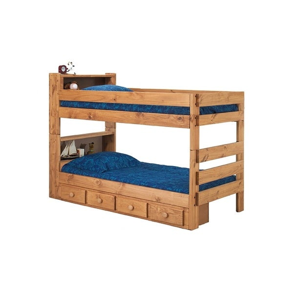 Ginger Stain Bookcase Bunk Bed with Drawers