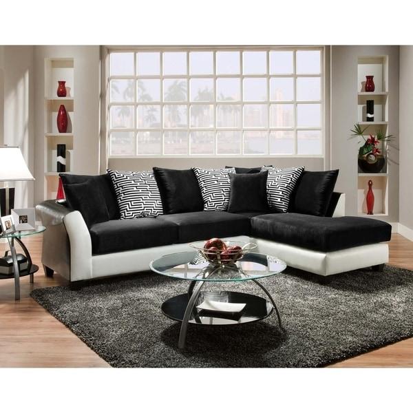 Lambda Jefferson Black and Avanti White 2-piece Sectional