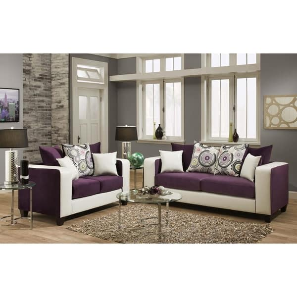 Emboss Implosion Purple and Demsey White Sofa