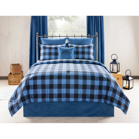 Still Lake Cabin and Lodge blue Plaid comforter set