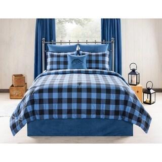 Still Lake Cabin and Lodge blue Plaid comforter set