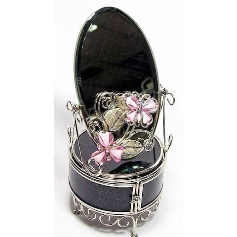 Elegance Pink Butterfly Jewelry Chest with Mirror