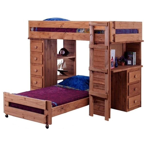 Mahogany Hill Twin over Twin Student Loft Bed with Desk and Chest Ends