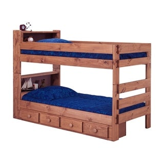 Mahogany Hill Twin over Twin Bookcase Bunk Bed with Storage