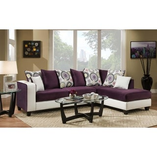 Ame Implosion Purple and Stark White L-shape Sectional