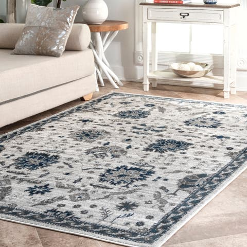 Porch & Den Sawtelle Faded Botanic Pattern Area Rug