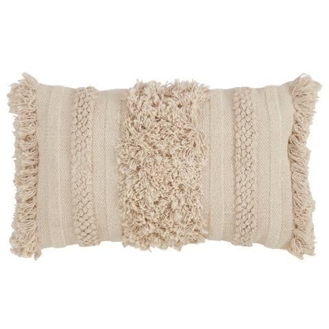 Down Filled Fringe Stripe Throw Pillow