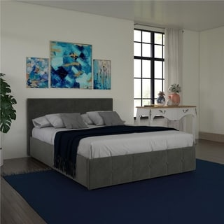 Avenue Greene Romeo Velvet Upholstered Bed with Storage