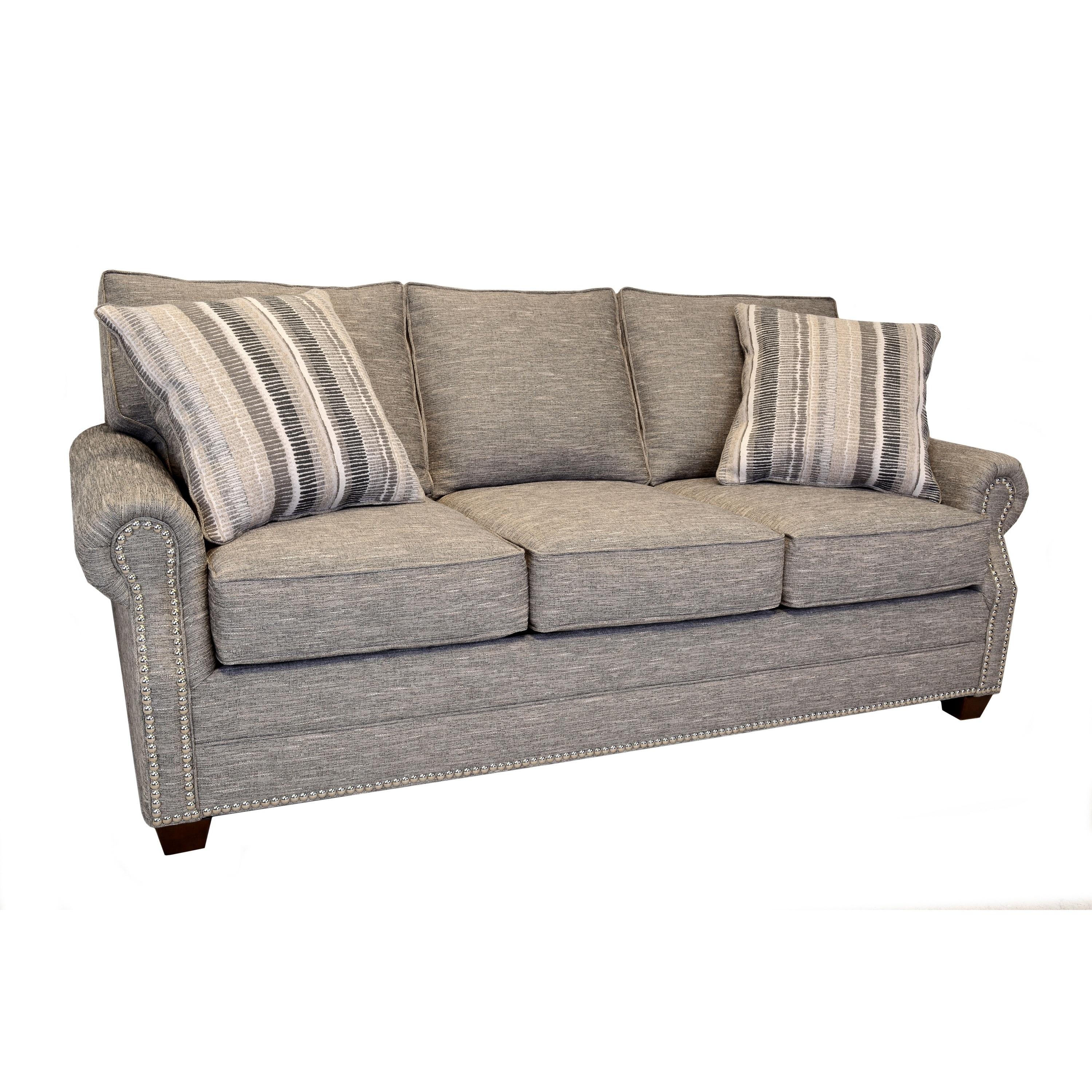 Alston Heather Grey Sofa With Nailhead Trim