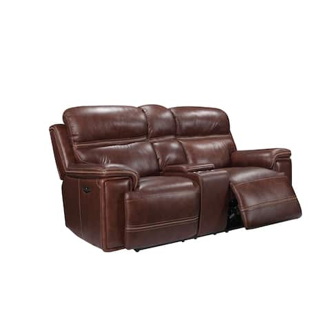 Gordon Top Grain Leather Power Reclining Loveseat with Console