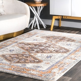 The Curated Nomad McLaren Transitional Antique Medallion Geo Faded Border Area Rug